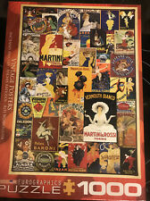 """EuroGraphics  """" Vintage  Posters"""" Jigsaw Puzzle 1000 Piece Wine Theme Colorful +"""
