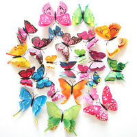 Home 12PCS 3D Butterfly 2layers Design Art Decal Wall Stickers Room Decorations