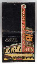 LAS VEGAS CLUB Hotel CASINO Nevada MATCHBOOK COVER Fremont Street NV Roulette