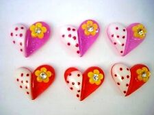 20 Polka Dot Pink & Red Valentine Heart Resin Flatback Button/love/craft B107