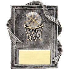 Basketball Plaque Silver with Gold Trim Resin Trophy Award