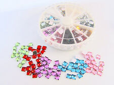 300 Mix Acrylic Mini 4mm Square Rhinestone + Case Jewel Embellishment/Craft E23