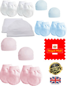 New Prem Tiny Baby 3.5kg (50-55cm) Boys Girls 2 Pack 100% Cotton Mittens & Hats