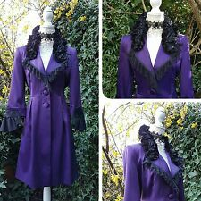 QUIRKY STEAMPUNK VICTORIAN GOTHIC COAT 14 - 16 PURPLE SATIN VELVET  LACE UNIQUE