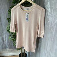 *BNWT* PER UNA M&S Powder Pink Crochet Detail SIZE 8 UK Short Sleeve Top RRP £25