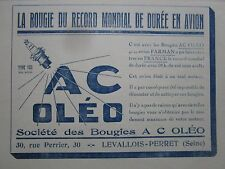 1/1925 PUB BOUGIES AC OLEO LEVALLOIS RECORD DE DUREE AVION FARMAN MOTEUR AD