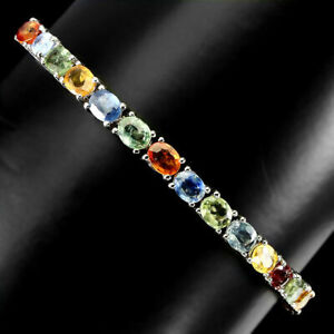Bracelet Mixed Songea Sapphire Genuine Gems Sterling Silver Slider Up to 10 Inch