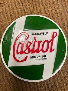Castrol sign vintage Castrol motor oil Wakefield metal cast logo seconds painted