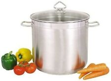Large Deep Stainless Steel Cooking Stock Pot Casserole Glass Lid - CATERING