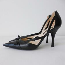 SERGIO ROSSI Black Leather Pumps High Heels Size 38 Made in Italy