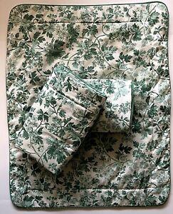 NEW 3 Laura Ashley Padded STANDARD Pillow Shams Green White Floral Berries Vine