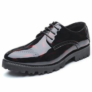 Men's Business Oxford Casual Low- top Brogue Patent Leather Formal Shoes