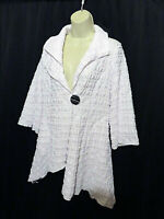 NWT IC by Connie K Asymmetrical White Jacket Bumpy Texture Size M Lagenlook