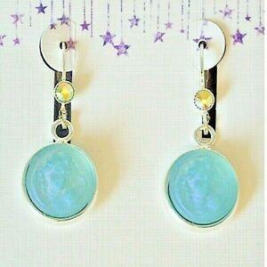 Kirks Folly Glass Dream Angel Leverback Earrings Silvertone Aqua Aurora Borealis