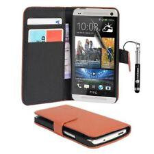 Fundas y carcasas color principal marrón de piel sintética para teléfonos móviles y PDAs HTC