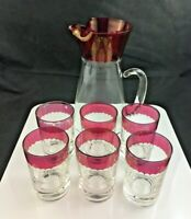 🔷 Vintage Mid Century Glass Pitcher & 6 Tumblers - Barware Cut w/ Ruby Flash