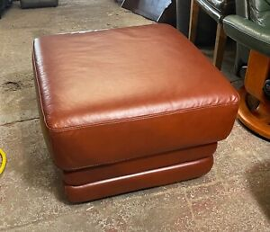 Large reddish brown Leather footstool pouffe footrest