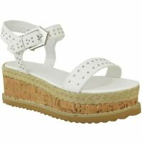 Womens Ladies Summer Platform Cork Wedge Studded Ankle Strap Sandals Shoes Size