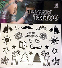 REINDEER SNOWFLAKE JINGLE BELL HOLLY Christmas XMAS BODY ART Temporary Tattoo