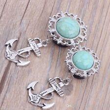 PAIR-Turquoise w/Anchor Dangle Steel Single Flare Plugs 08mm/0 Gauge Body Jewelr