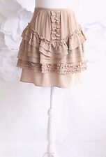 Anthropologie Ruffle Flounce Silk Chiffon Mini Skirt Women's Sz 6 M Beige
