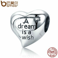 """BAMOER Solid S925 Sterling silver Charm """"A Dream is a wish"""" Bead For bracelet"""