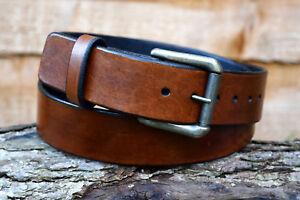 Handmade Full Grain Real Brown Leather Belt Antique Brass Nickel Roller Buckle