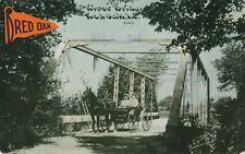 RED OAK IA – River Bridge Postcard with Red Oak Sticker Attached - 1912