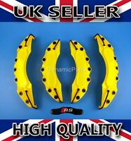 UNIVERSAL BRAKE CALIPER COVERS SET KIT FRONT & REAR YELLOW ABS 4PCS - RS STICKER
