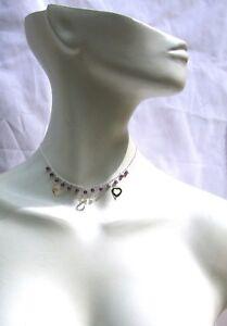 Collier 925 Silber 13 dunkel lila Amethyst facettiert Silberherz GracyCollection