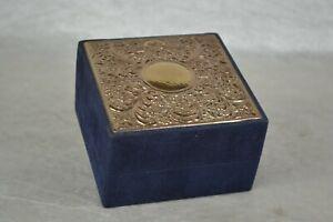Blue Velvet Jewellery Trinket Box with Sterling Silver Decorative Lid