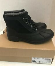 UGG HEATHER WATERPROOF BLACK WOMAN'S  ANKLE LEATHER BOOT'S 1095156 SIZE 6 NIB