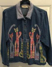 TANTRUMS WOMENS JEAN DENIM LIGHT KITTY CAT Coat JACKET SIZE XL Chest 44""