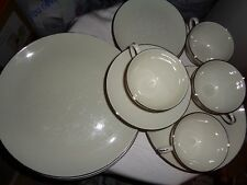 DAMASK by PICKARD WHITE FLOWERS SCROLLS 24 Pcs Dinner Set_Cup Saucer Salad Plate