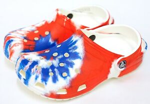 NEW Crocs Classic Red White Blue Tie Dye Slide On Clog Shoe
