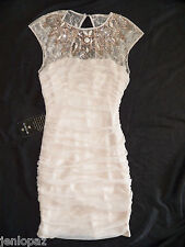 NWT bebe cream beige sequin beaded top dress lace nude mesh bodycon XS 0 2 sexy