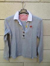 Polo ESPRIT femme gris manches longues M boutons couleurs