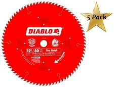 5 Pack Freud D1280X Diablo 12-Inch 80 Tooth ATB Crosscutting Saw Blade