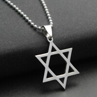Titanium Steel Pendant Star of David Necklace Hexagram New Plated Chain