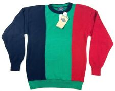 Vintage Jantzen Mens Pullover Sweater Green Color Block Crew Neck Ribbed Medium