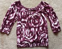 LUCKY BRAND Women's 3/4 Sleeve Wine Red Scoop Neck Tie-Dye Blouse Size Small