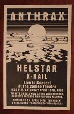 Anthrax + Helstar San Antonio Texas (1986) Orig Metal Flyer/Poster