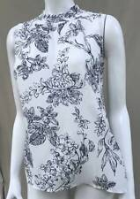 NEW ANN TAYLOR White & Navy Blue Floral Outline Romantic Top Shirt Blouse L LP