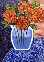 Original Painting Zinnias In A Vase On A Lace Tablecloth,Flowers,Naive/folk Art