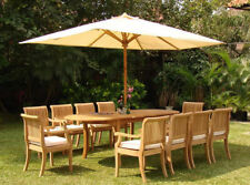 """Giva Grade-A Teak 11 pc Dining 94"""" Oval Table 10 Arm Chair Set Outdoor Furniture"""