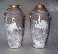 Minton Vase China Pate Sur Pate Vases x 2 Crane Wildlife Art Nouveau Polyhrome