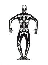 Adult Mens Skeleton Costume Second Skin Ladies Halloween Fancy Dress Outfit M