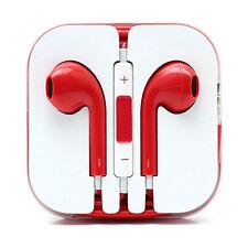 Red Headphones Earbud Earphones Volume Control Mic iPhone 6 6S Plus 5 5S 4 4S