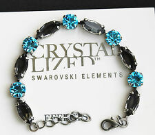 Aquamarine and Black Diamond Tennis Bracelet with Swarovski Crystal Elements