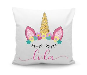Personalised Printed Custom Name Kids Unicorn Crown Filled Cushion with Inner